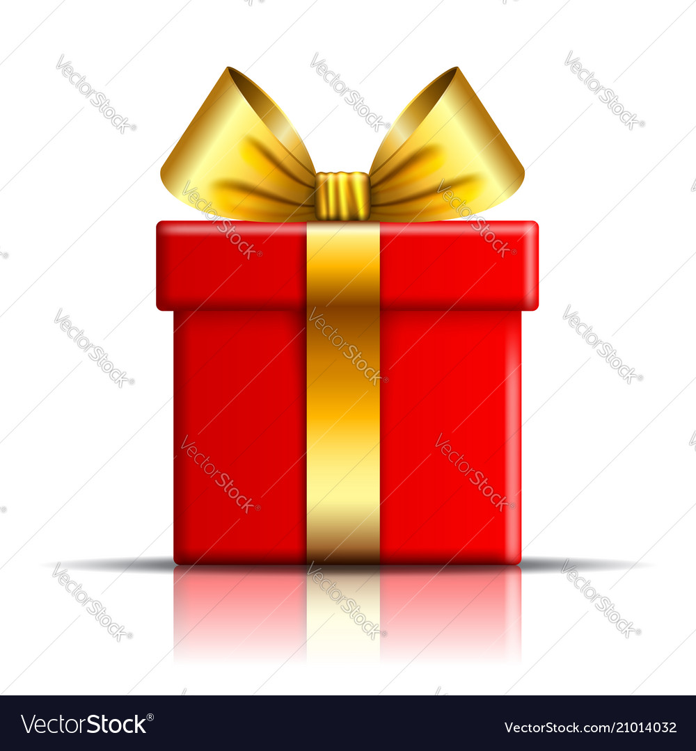 gift box icon surprise present red gold template vector image