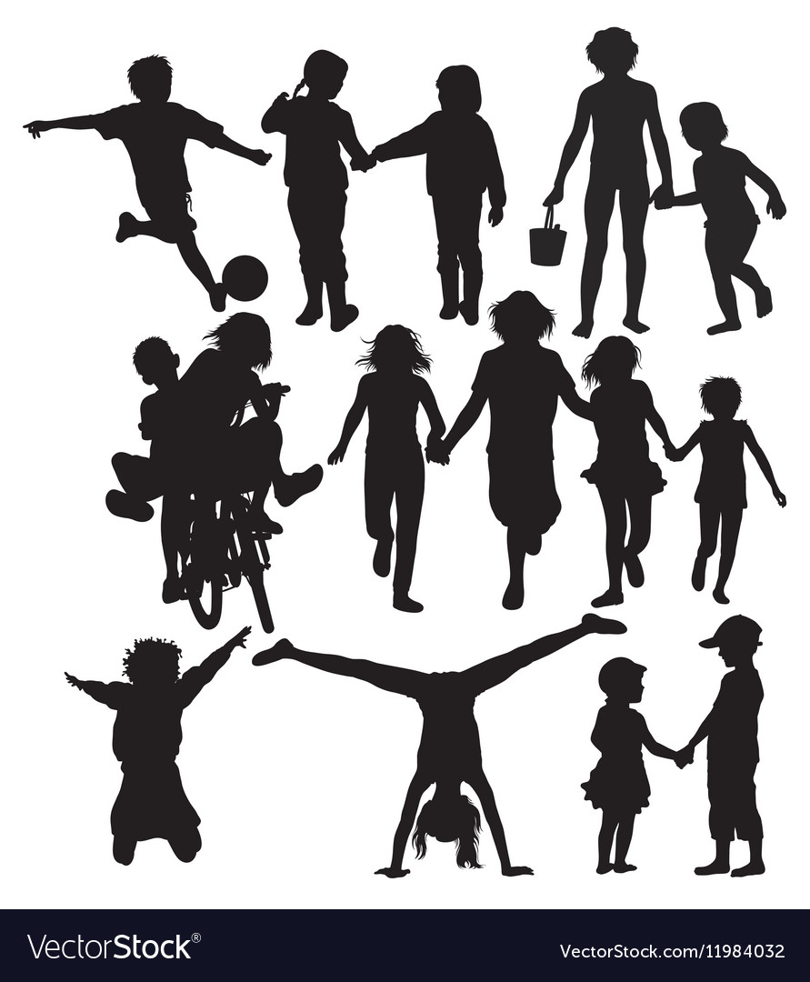 Happy Children Recreation and Activity Silhouettes