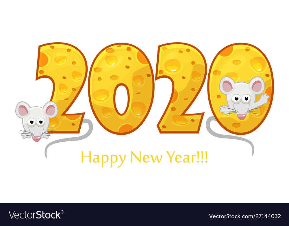 Happy new year 2020 textured cheese