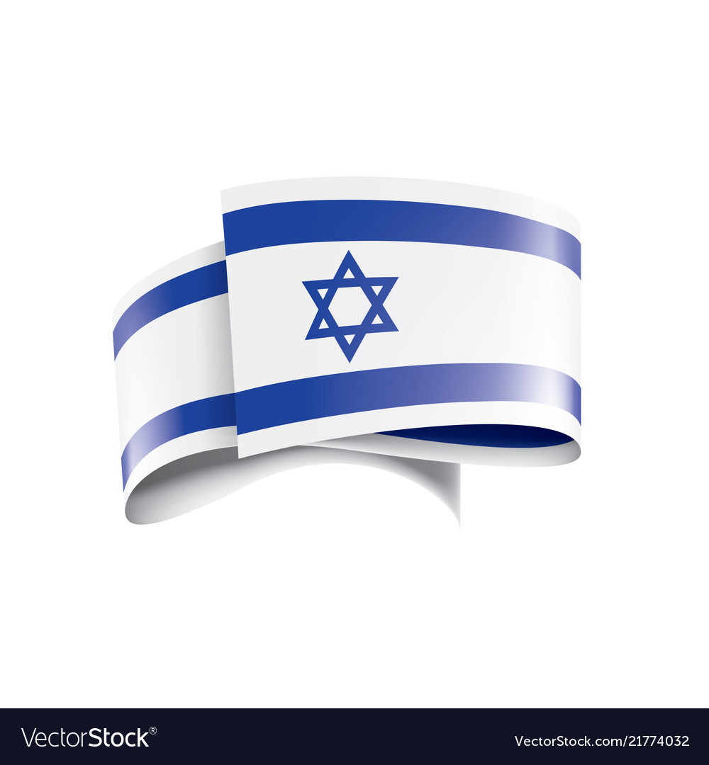 Israel flag on a white