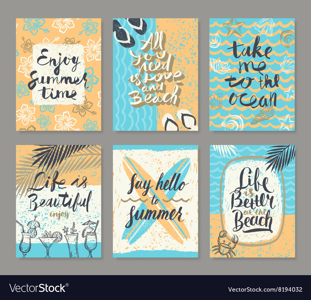 Set of Hand drawn summer vacation posters