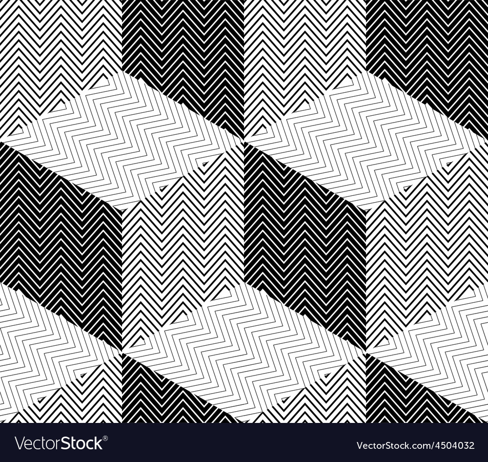 Striped Rhombuses 3D Cubes Seamless Pattern