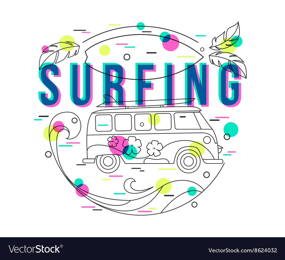 Summer Surfing Background with mini van and wave