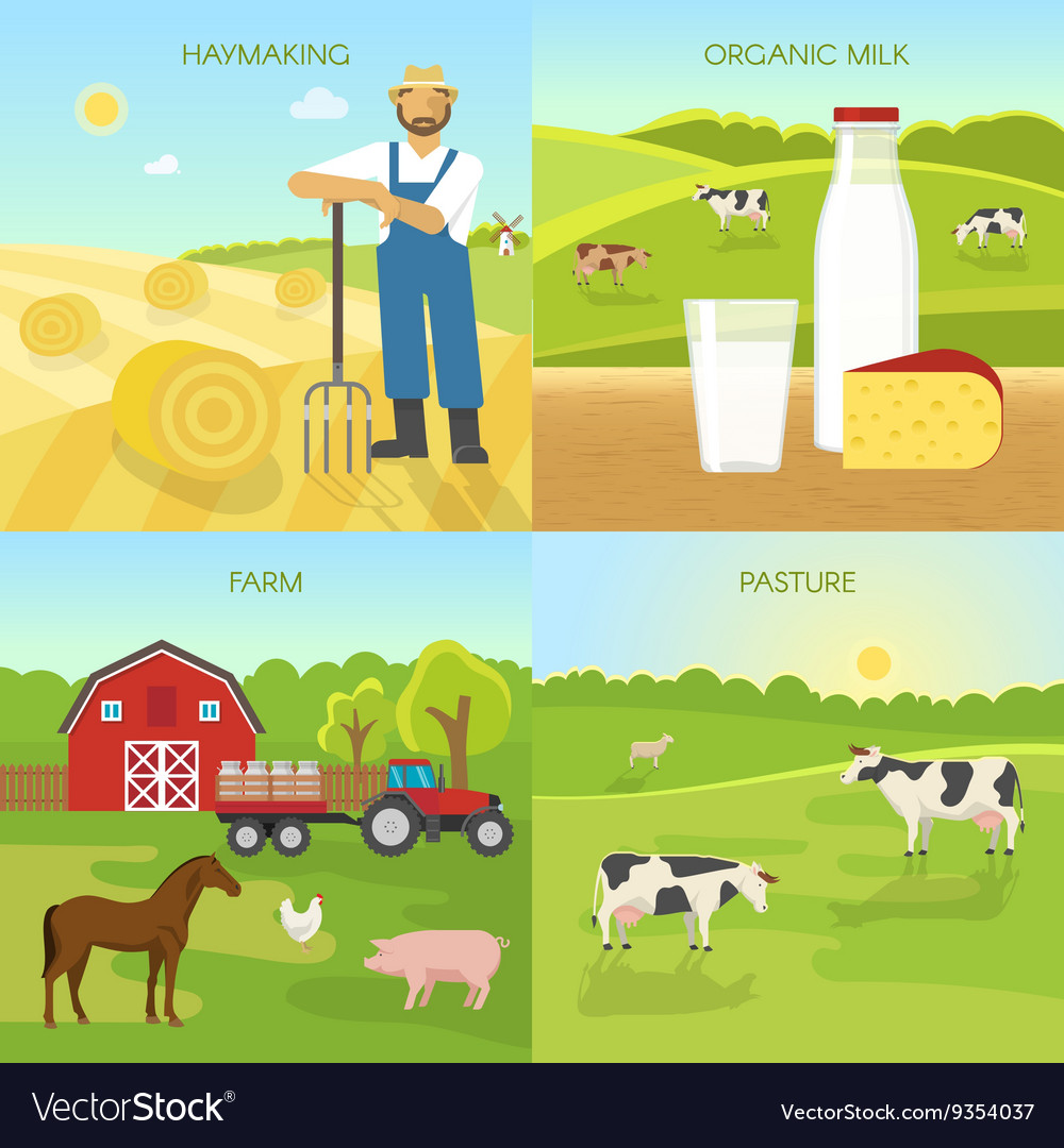 Agriculture flat compositions vector