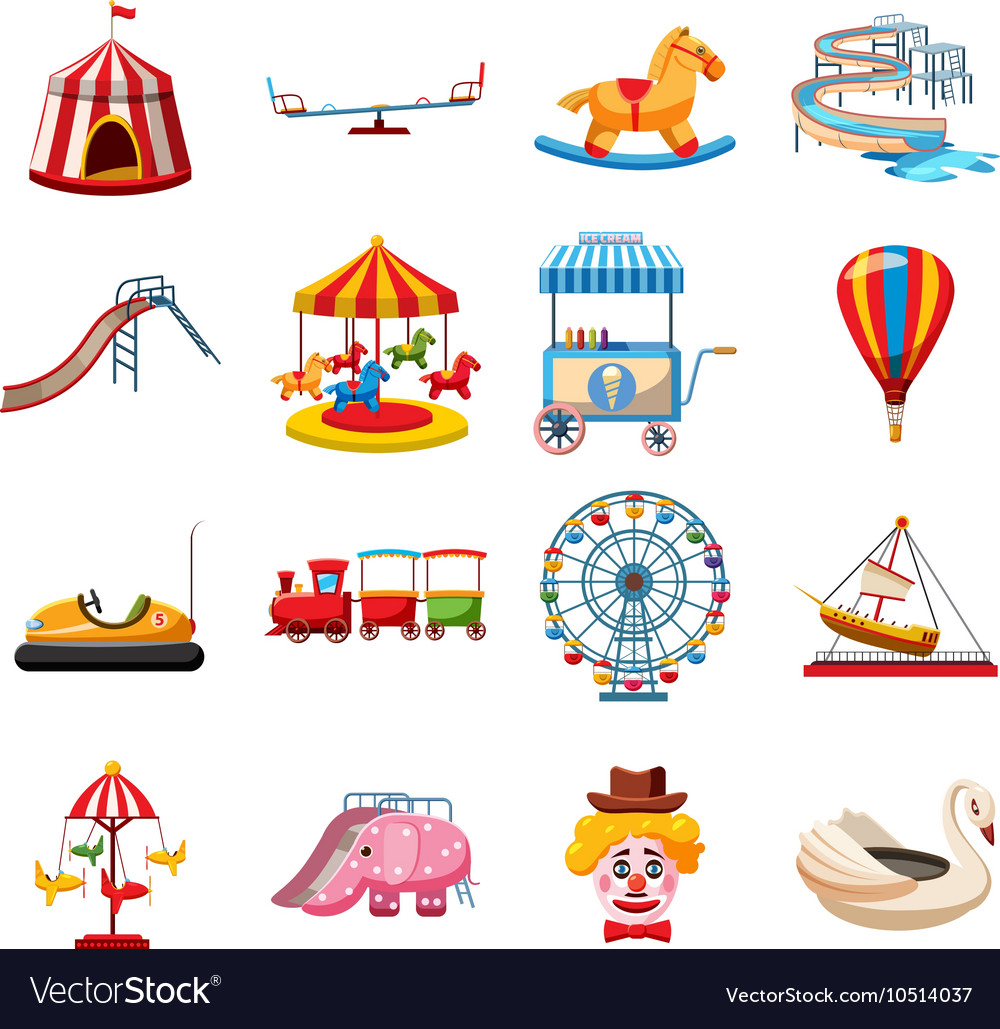 Amusement park icons set flat style