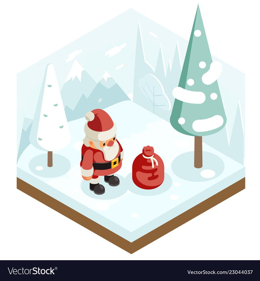 Cartoon santa claus grandfather frost gift bag new