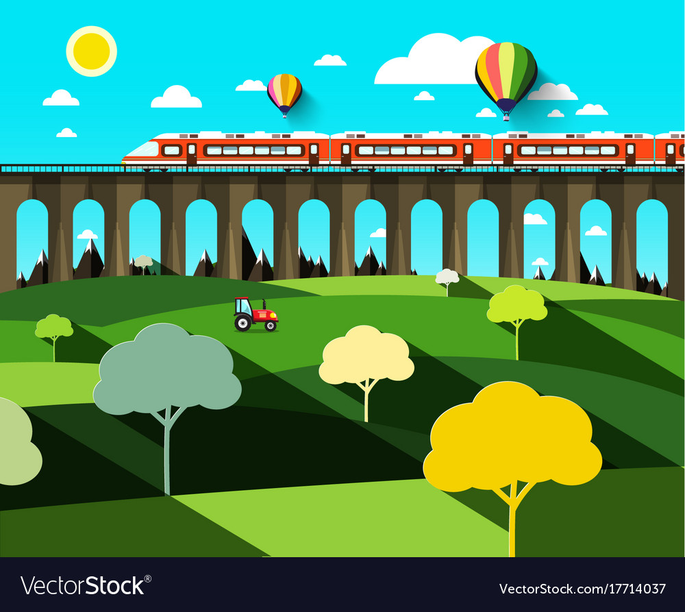 Flat design landscape with modern train on high