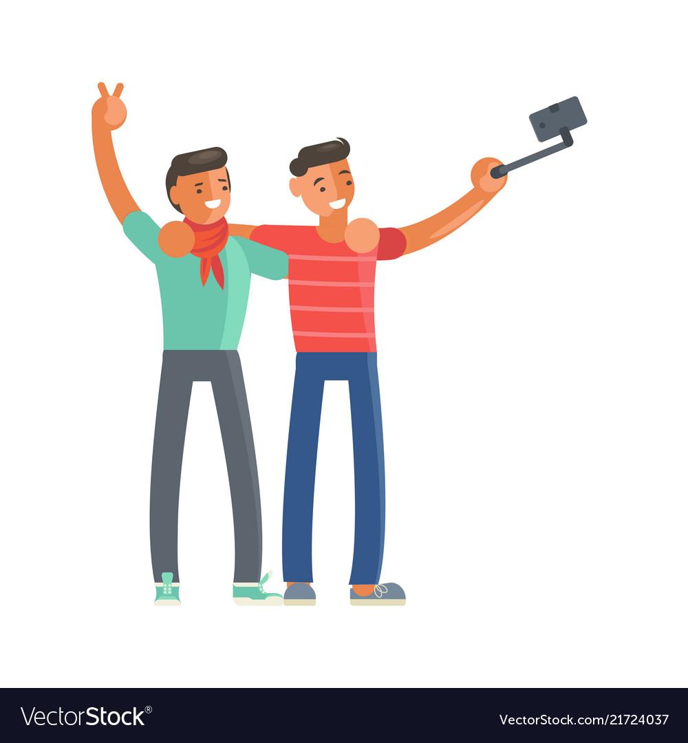 Men making selfie