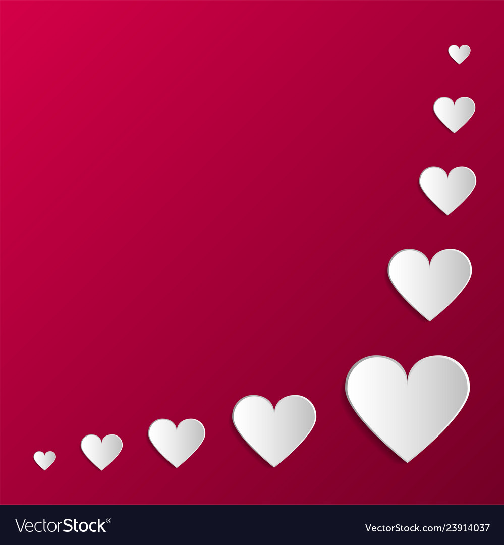 Paper origami hearts poster happy valentines day