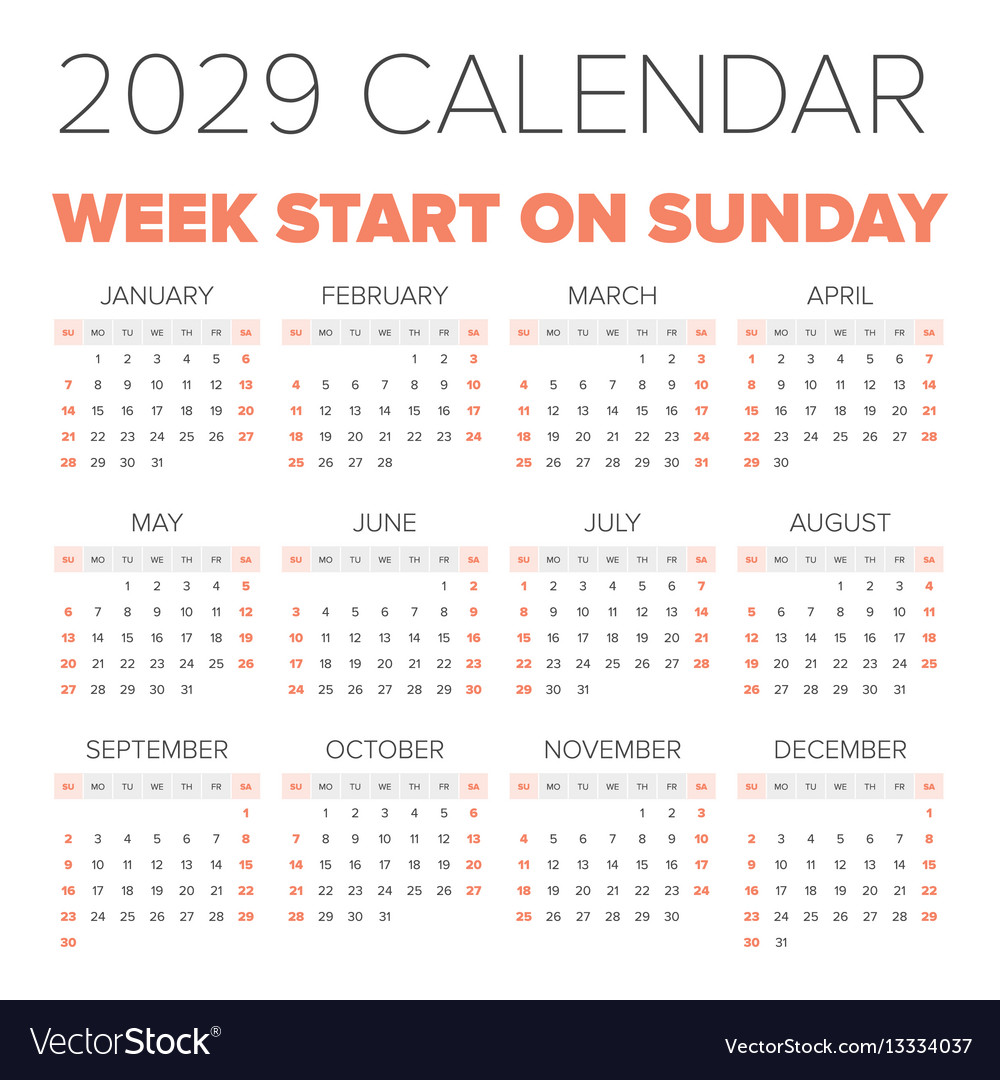 Simple 2029 year calendar vector image