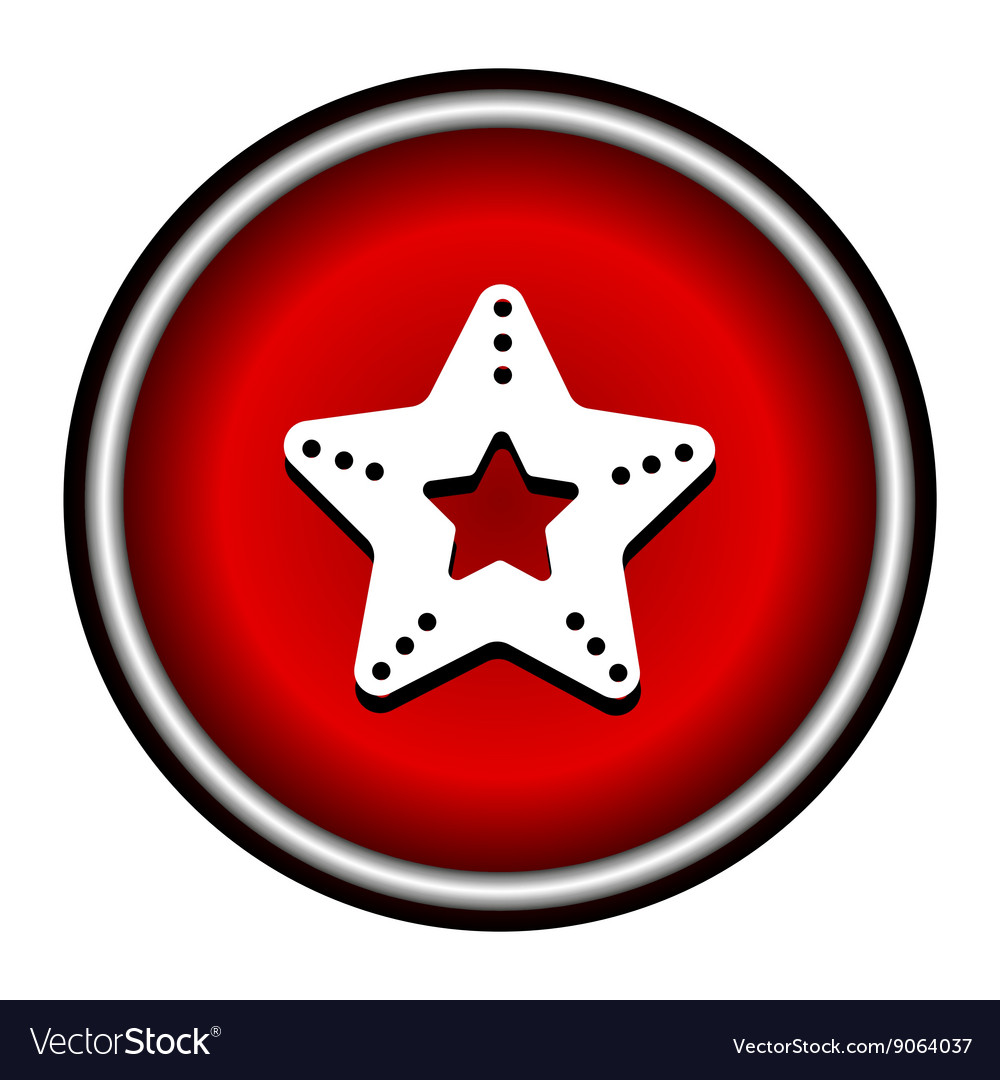 Single starfish icon on round colorful butt