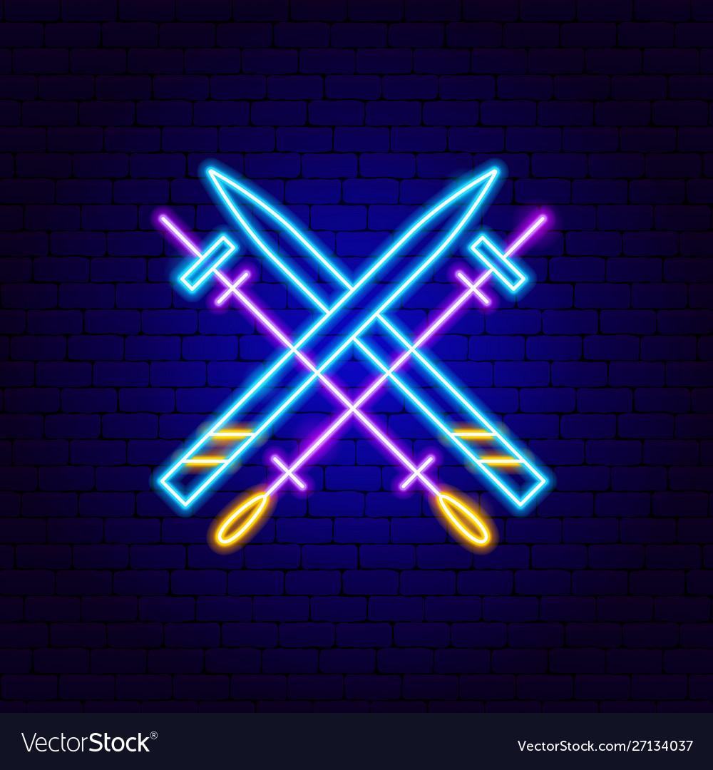 Skiing neon sign