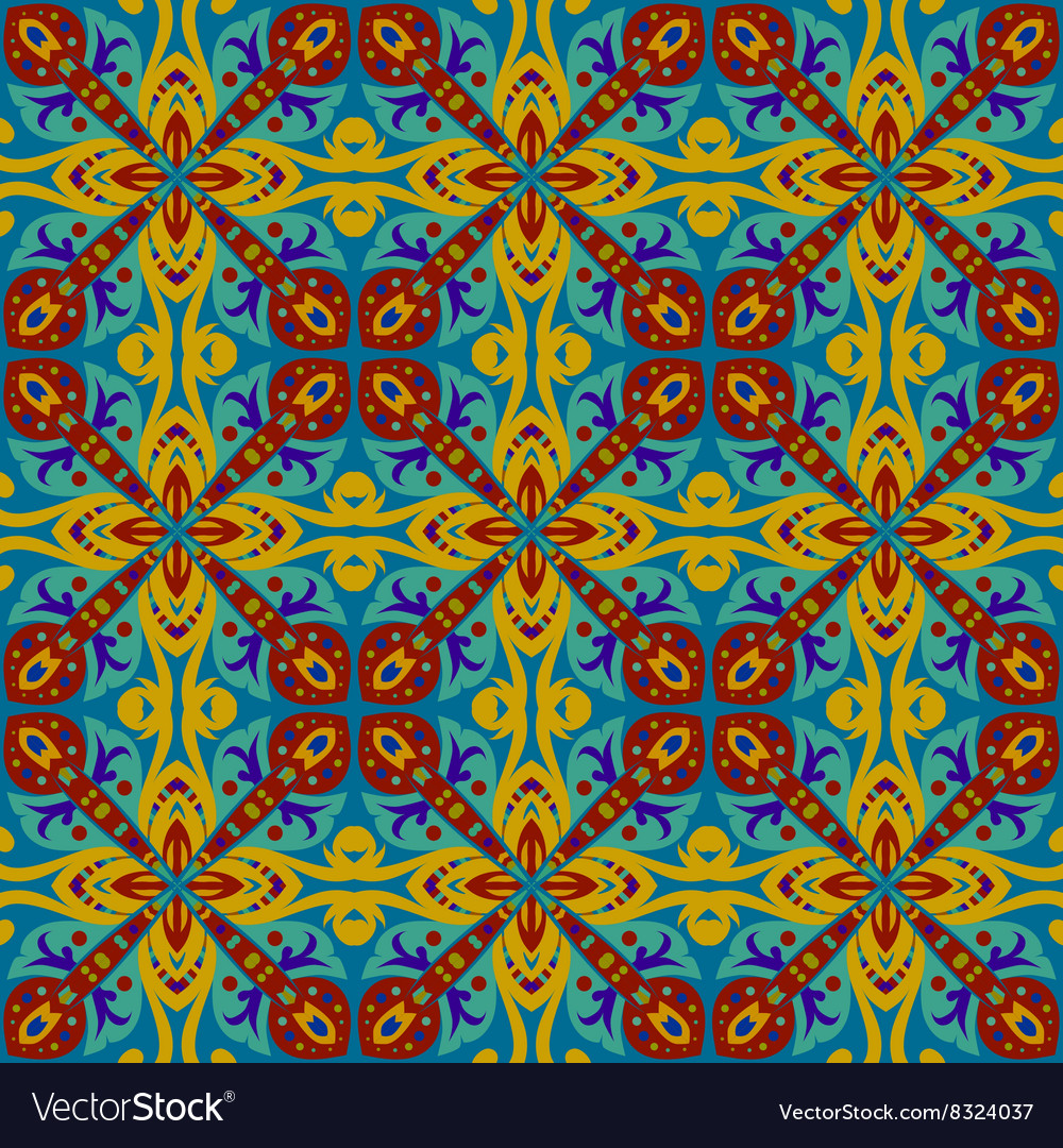 Square ethnic seamless pattern