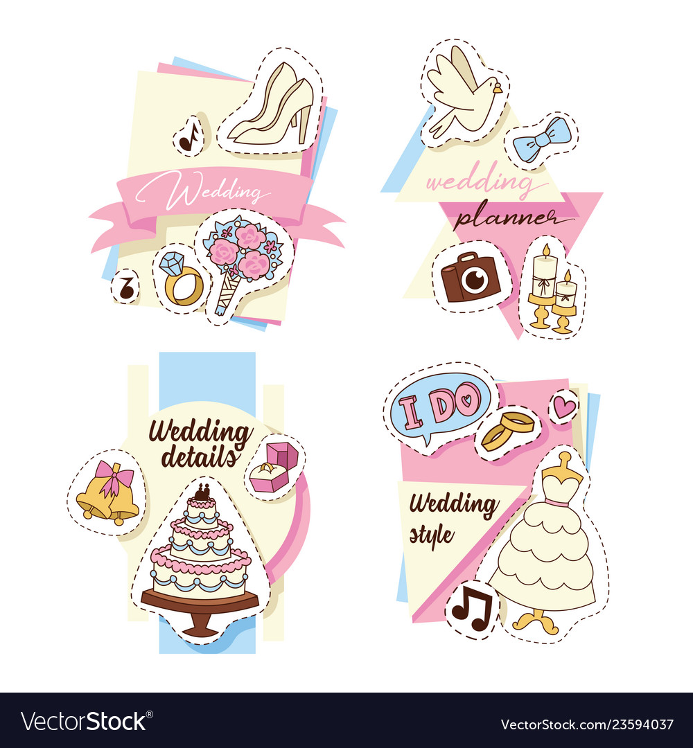 Wedding stickers set of cards