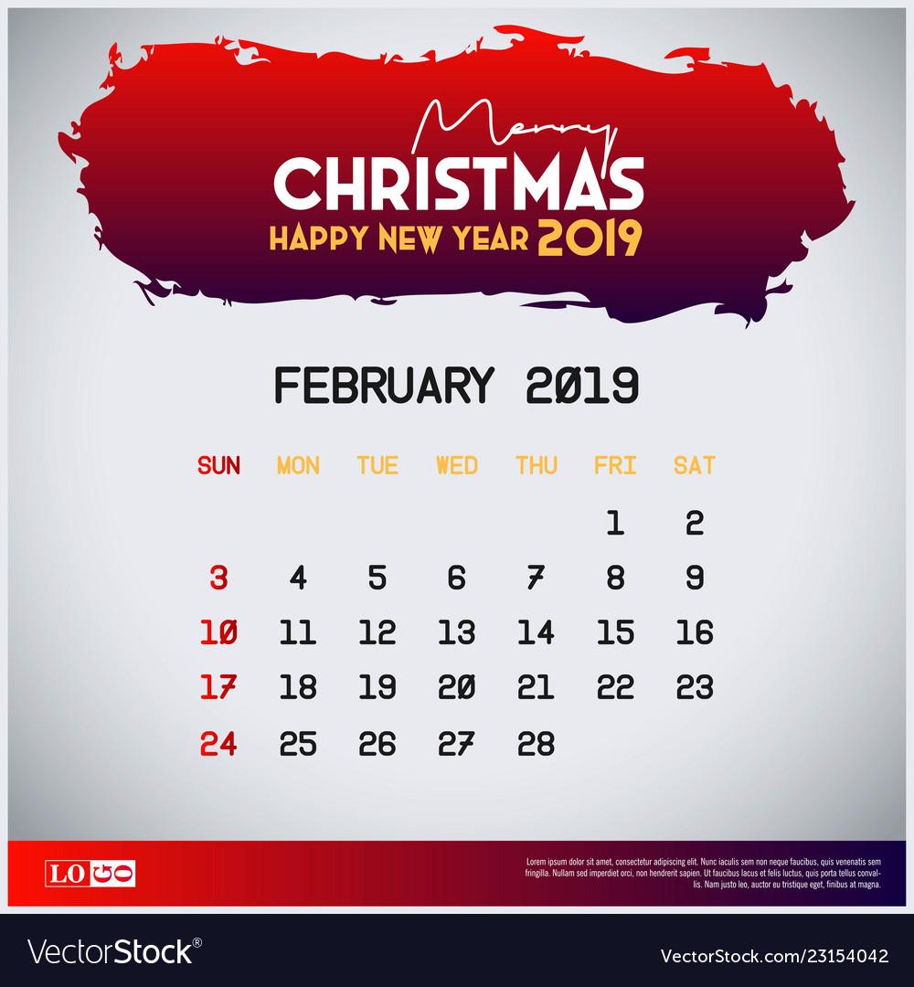 Christmas 2019 Calendar.2019 February Calendar Template Merry Christmas