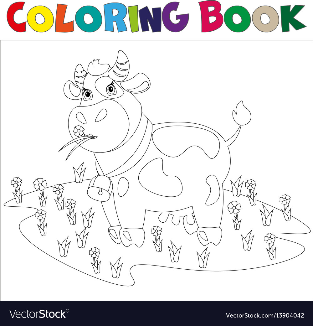 A cow in a meadow with flowers vector image