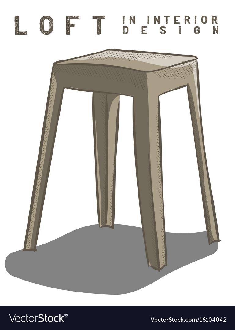 Beige stool loft in interior design eps 10