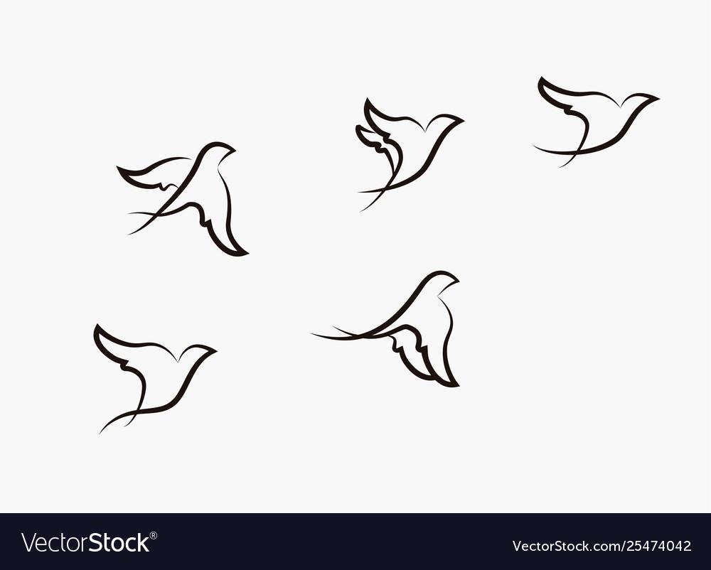 Birds flying stylized hand drawn birds ill
