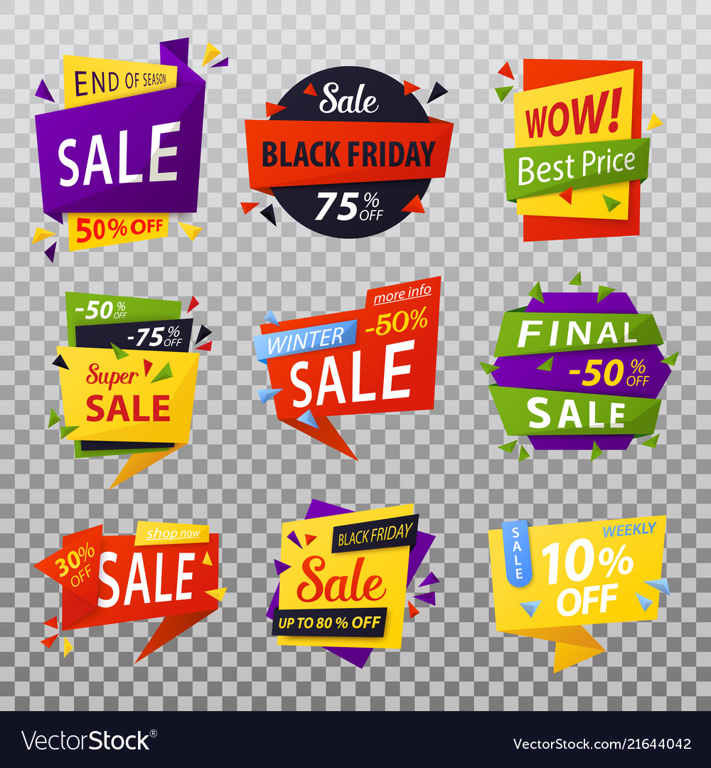 Black friday isolated stickers or tags labels for
