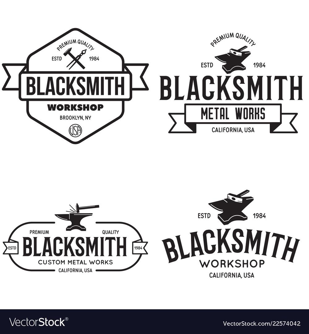 Blacksmith labels set design elements for