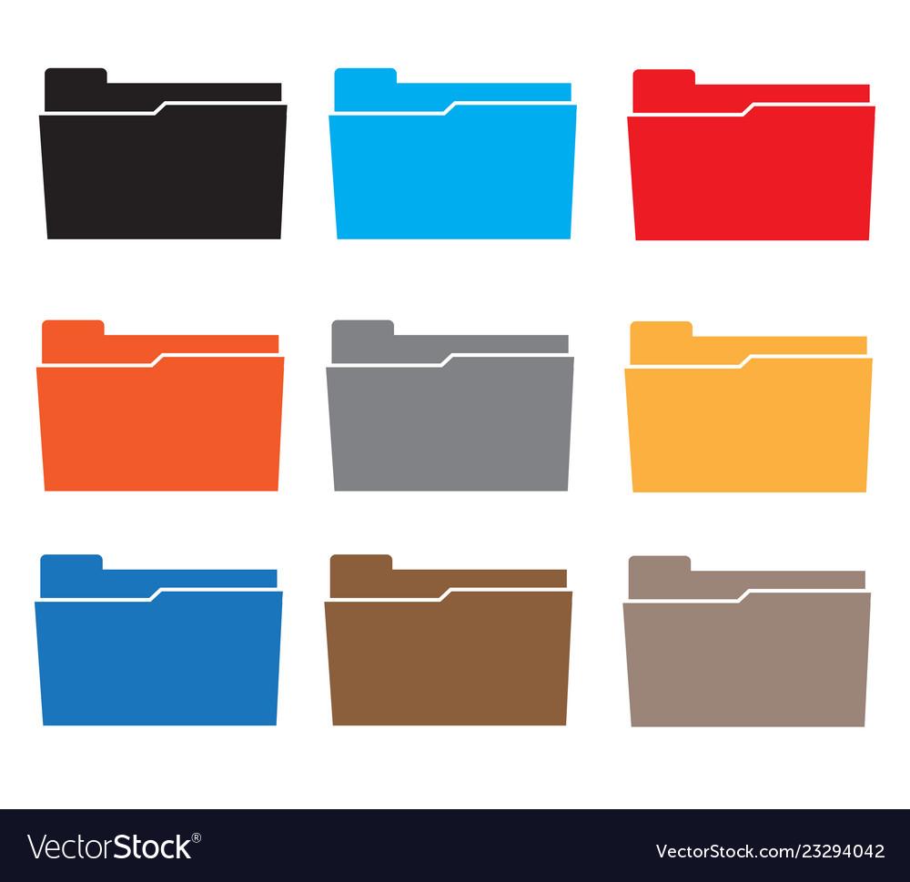 Folders icon set colorful on white background