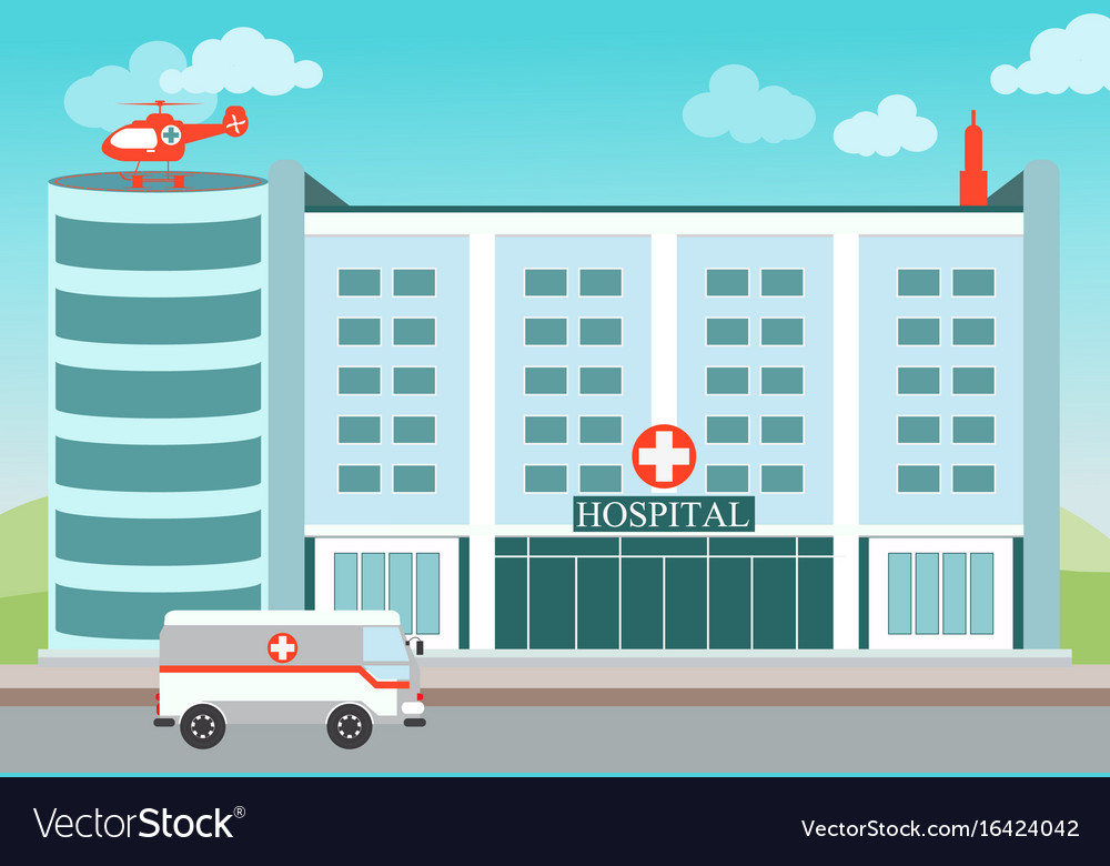 Hospital building with medical helicopter and vector image