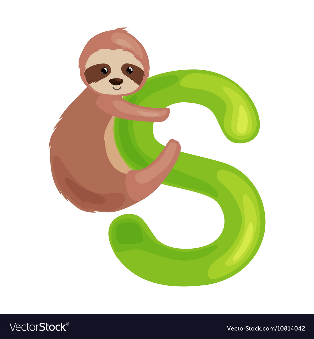 Letter s with sloth animal for kids abc education
