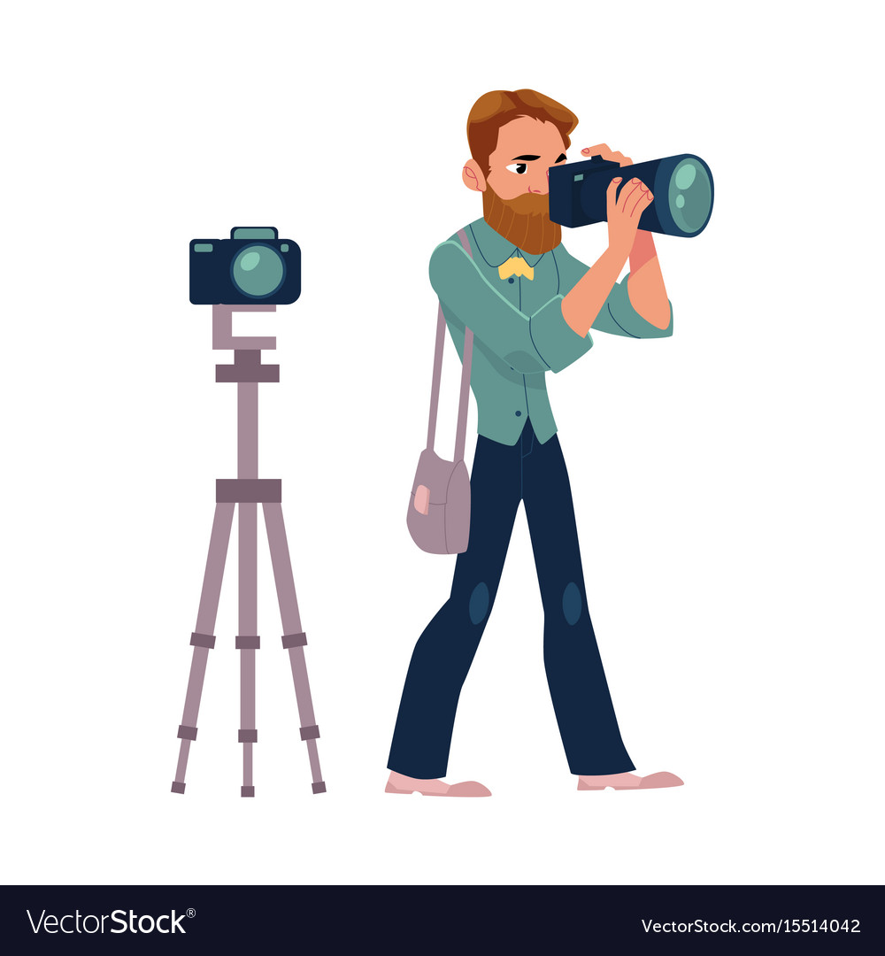 Male photographer camera man at work taking vector image