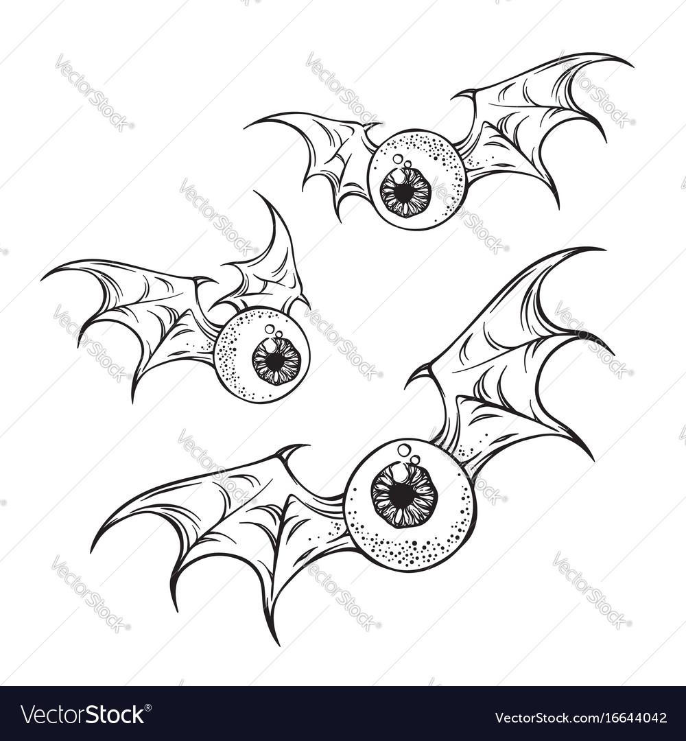 Monster flying eyeballs with creepy demon wings