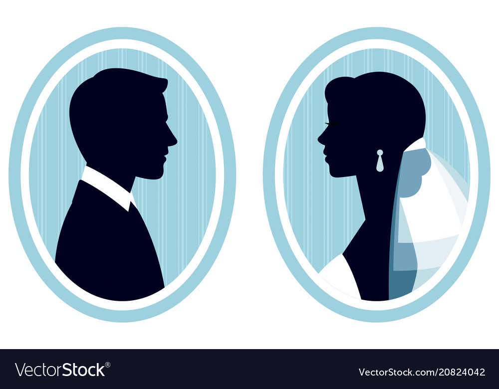 Portraits in the profile of the bride and groom