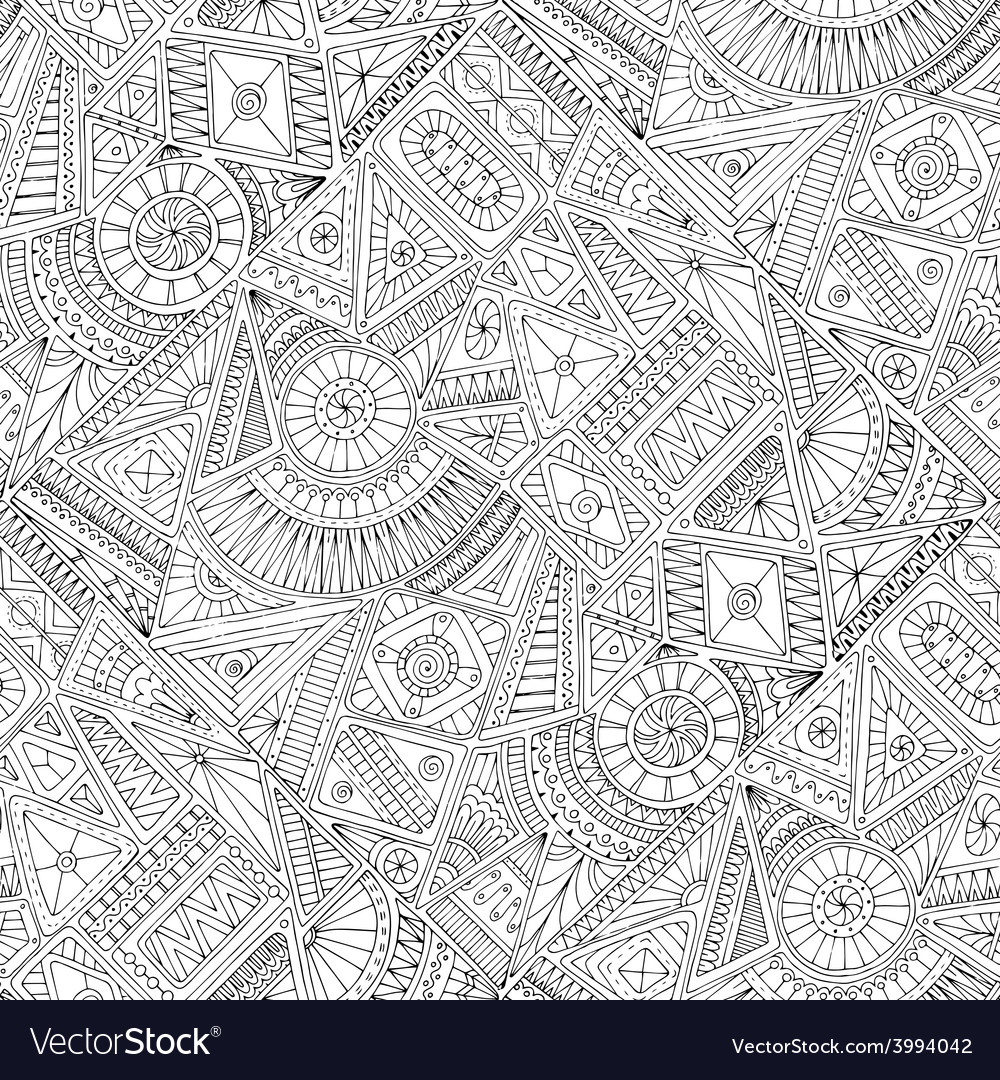 Seamless asian ethnic floral doodle pattern