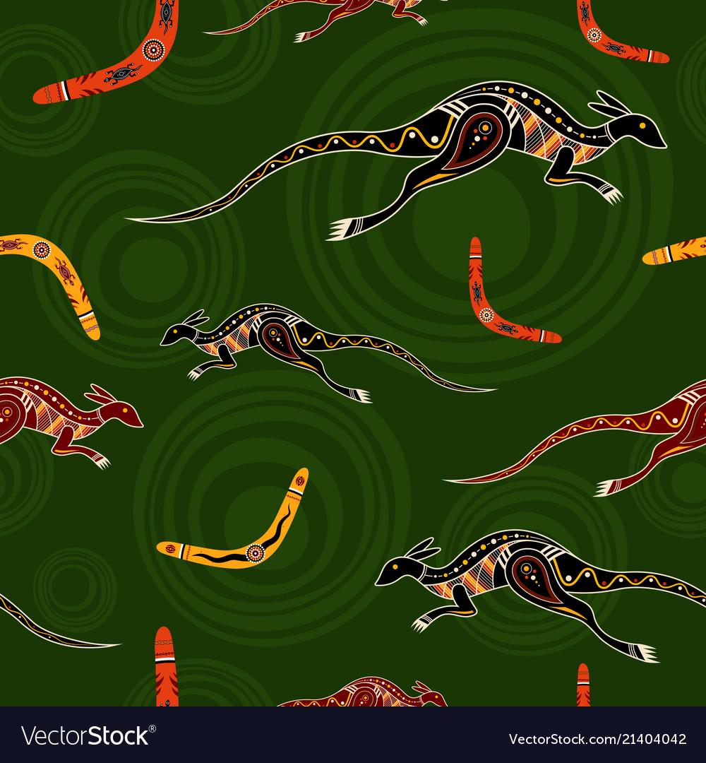 Seamless pattern of kangaroos and boomerangs