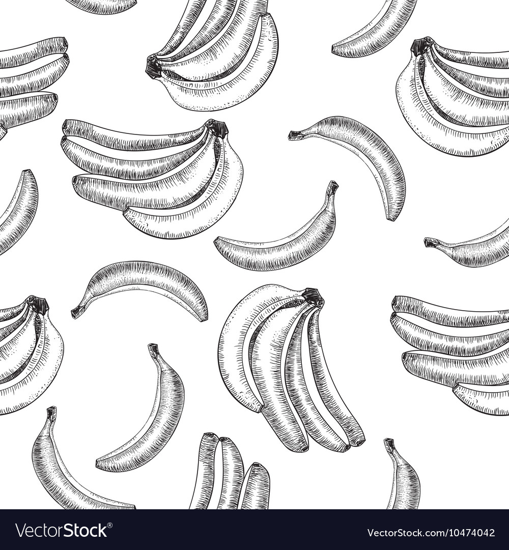 Seamless patternbananas of sketches
