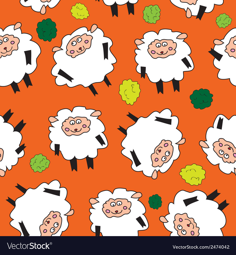 Sheep and shrubs Seamless pattern