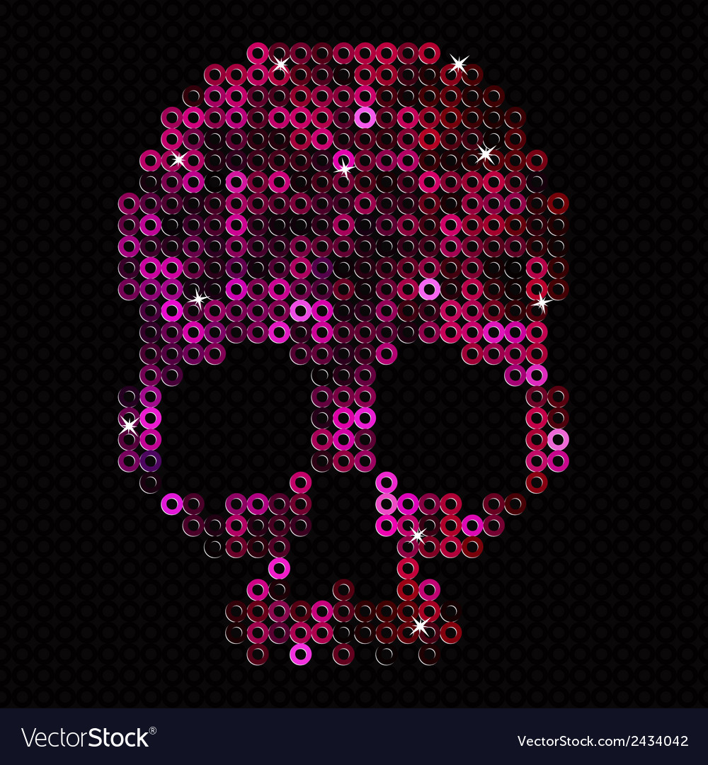 Skull pink beads sequins