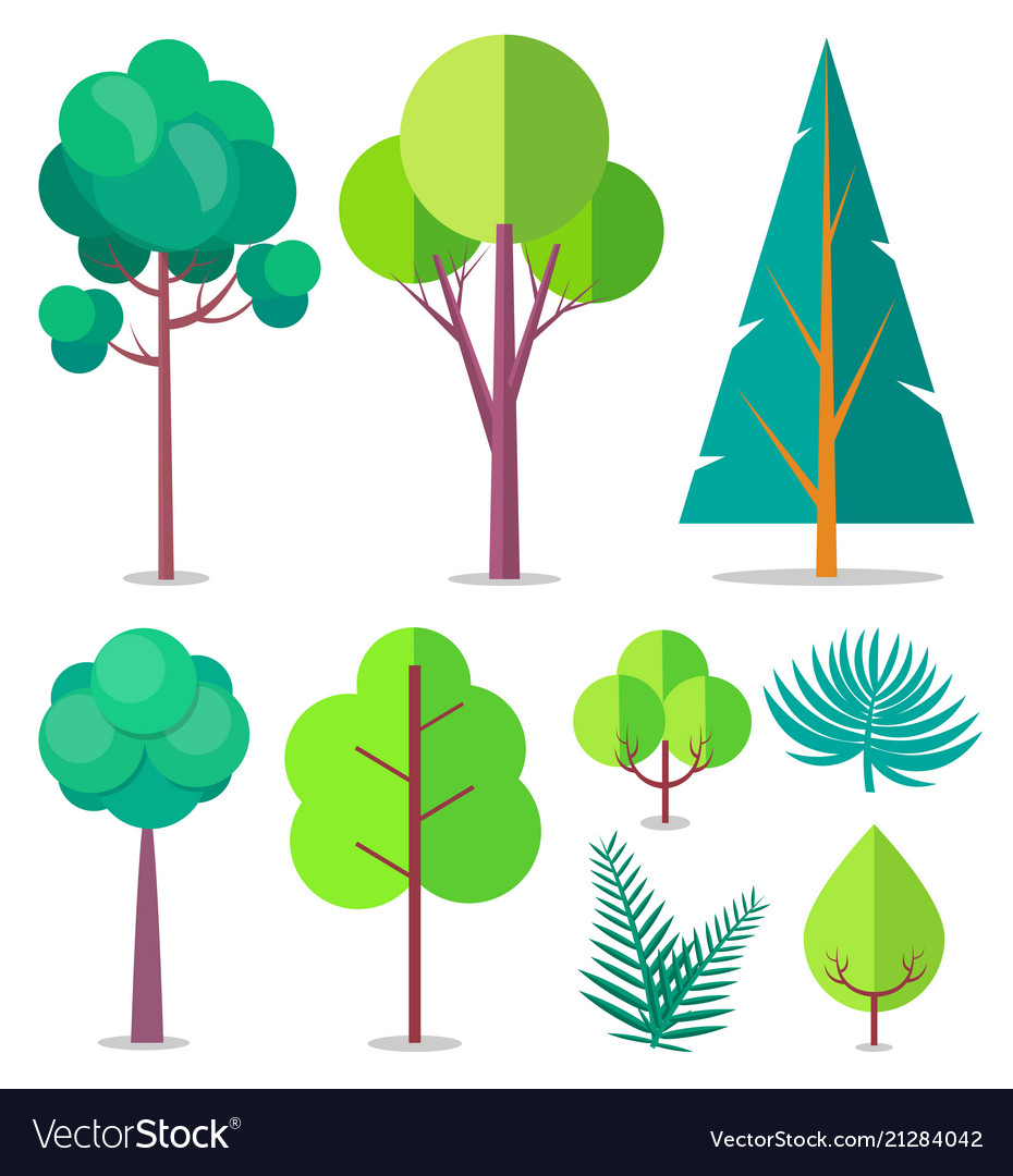 Template with trees and bushes of different sizes