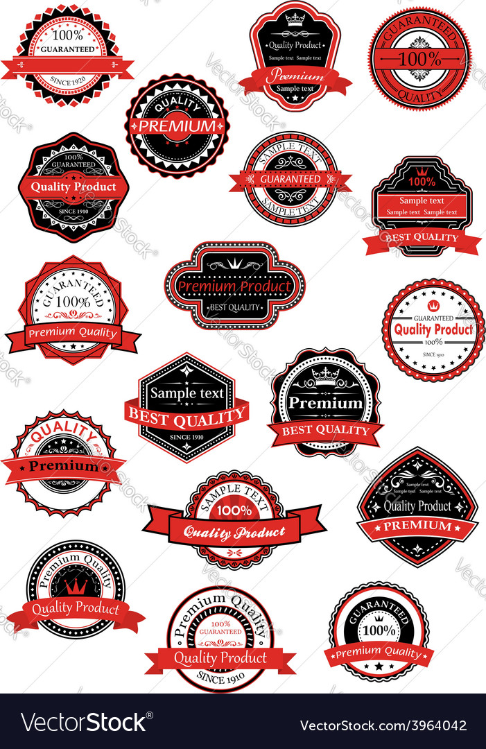 Various labels for premium quality designs vector image