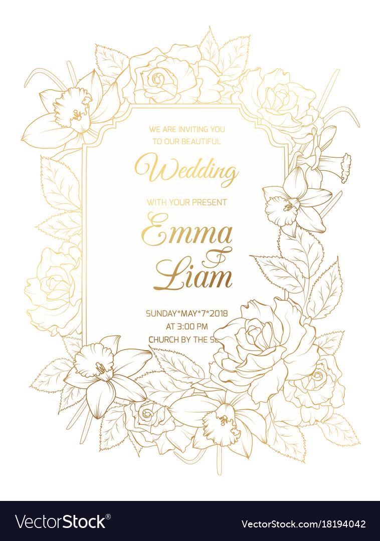 Wedding invitation template rose peony narcissus vector image