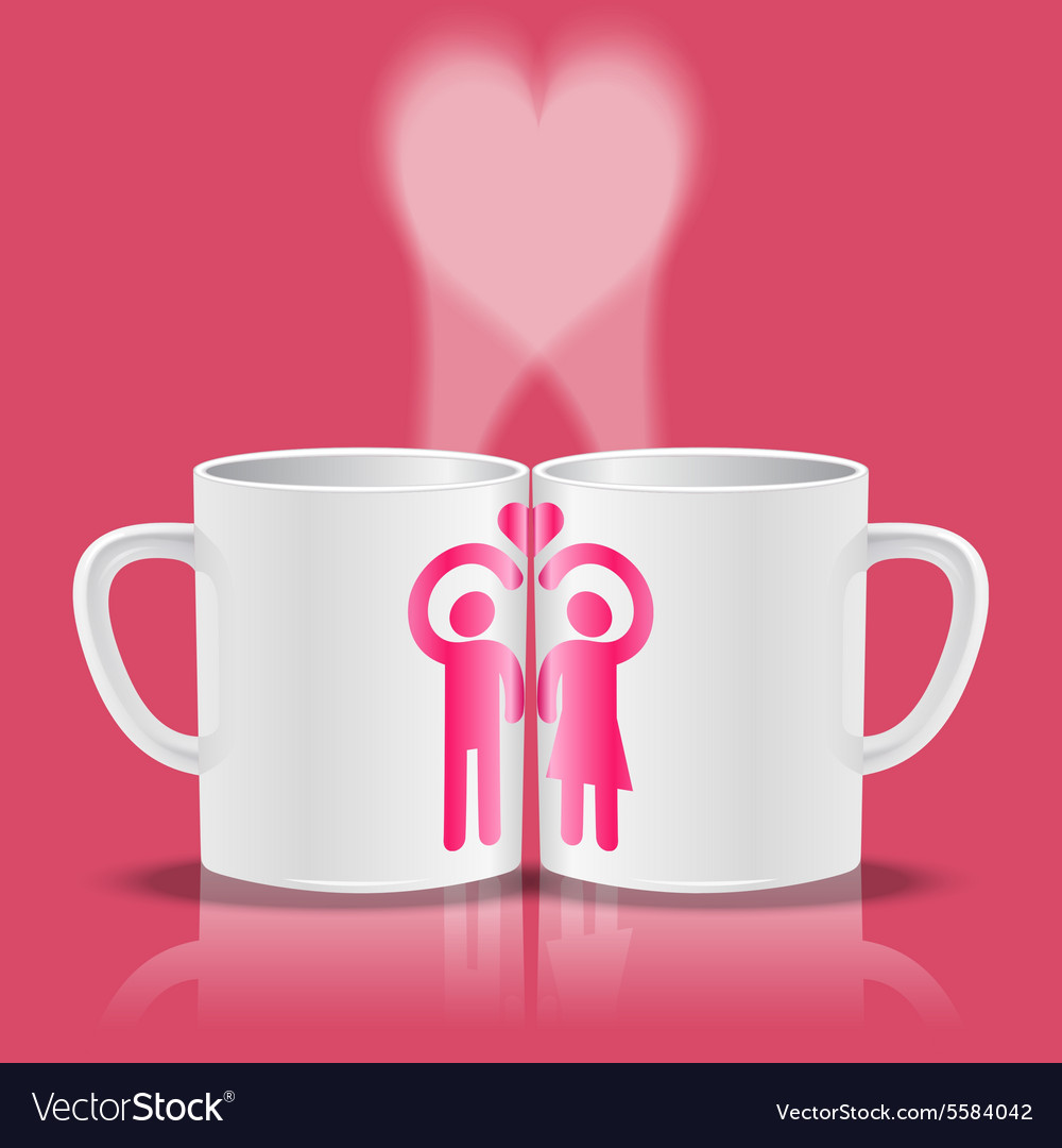 White cups with loving couple making heart shape