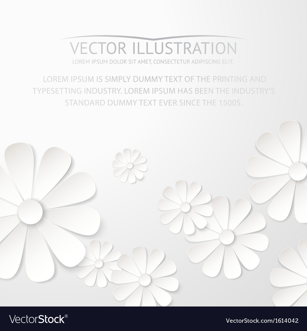 White paper flower postcard