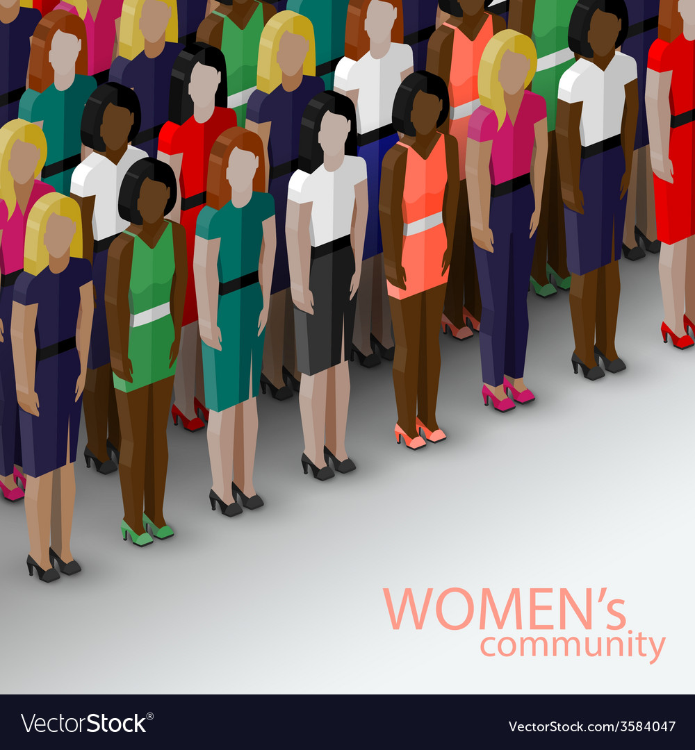 3d isometric of women community with a large group