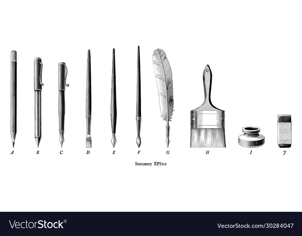 Antique engraving stationery set drawing in