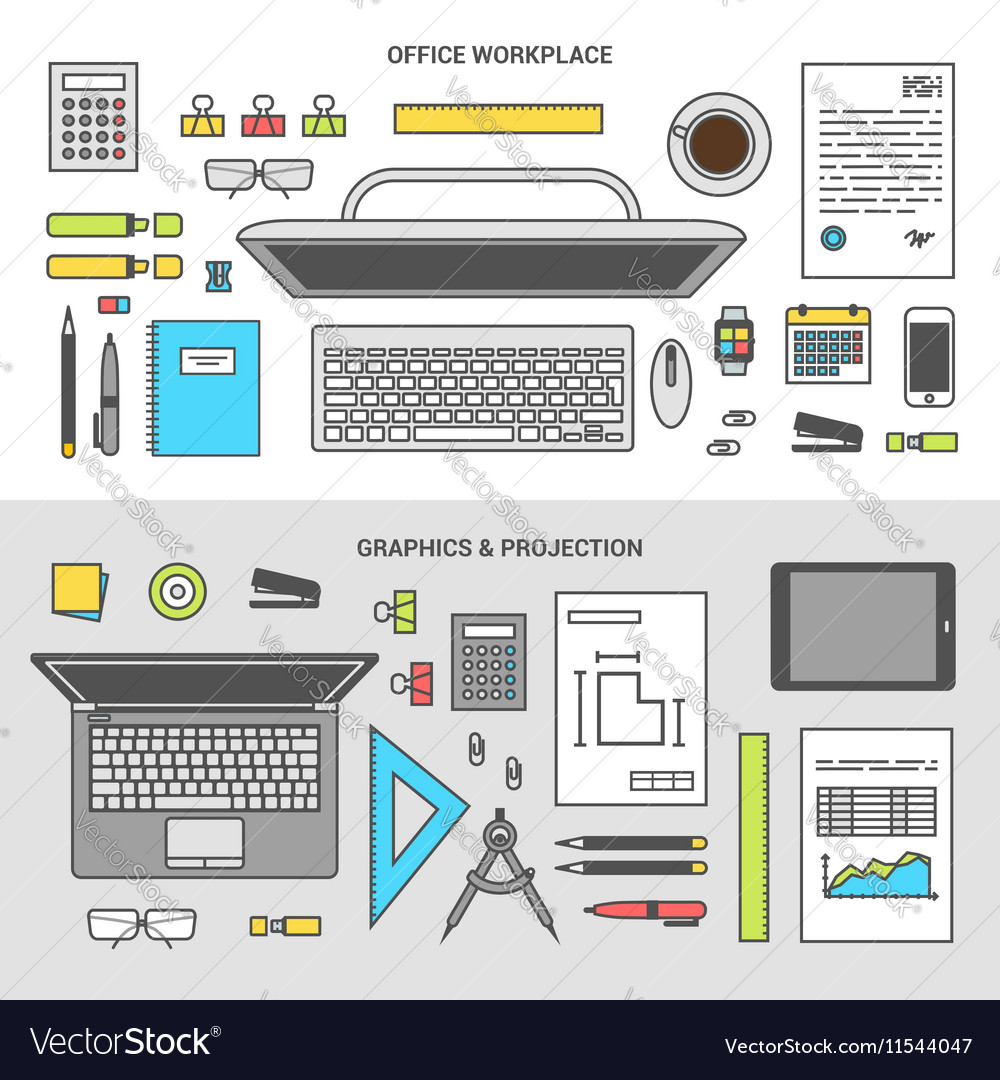 Banner set concept office objects top view vector image
