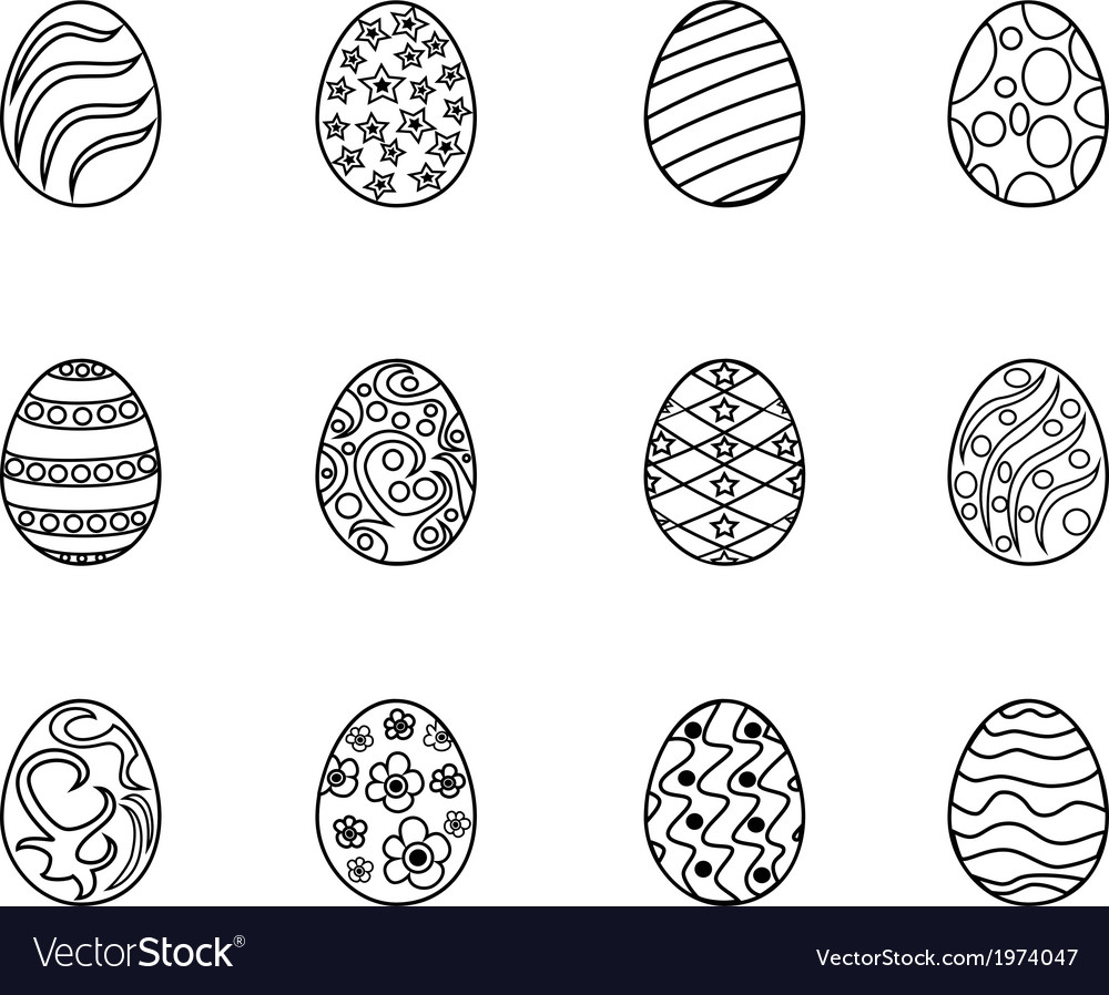 Black easter egg outline