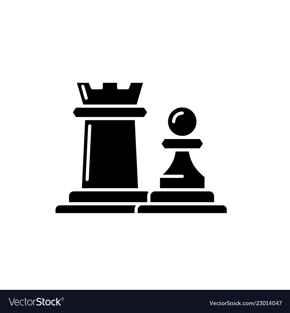 Chess pieces rook and pawn black icon sign