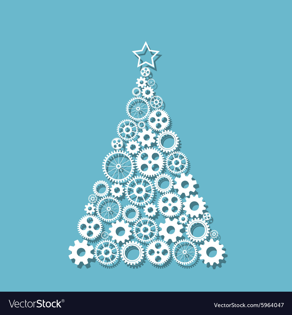 Christmas tree f gears vector image