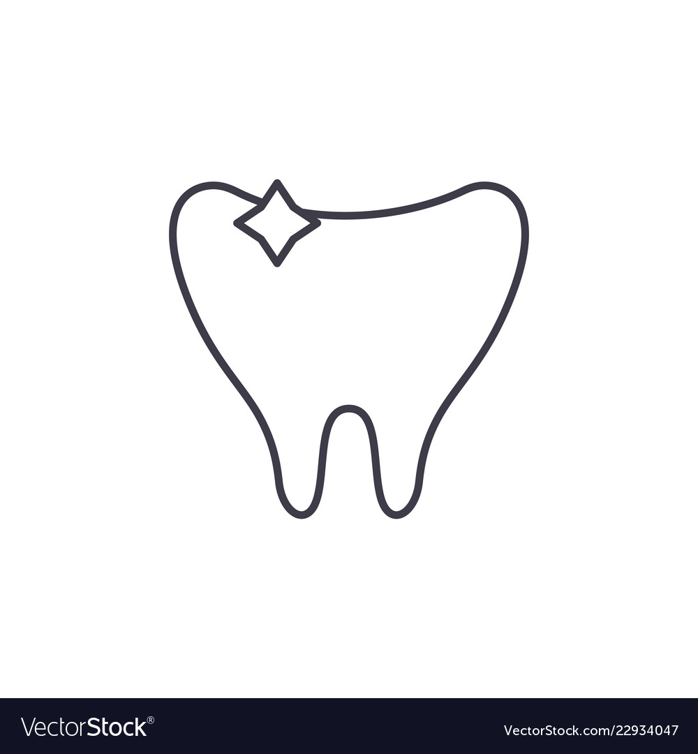 Clean tooth line icon concept clean tooth