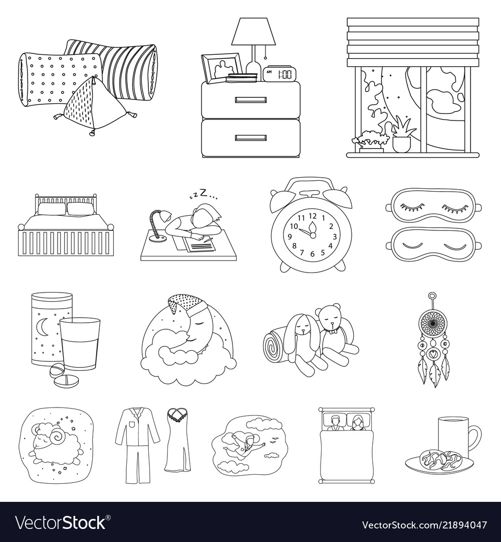 Design Of Dreams And Night Symbol Set Of Vector Image