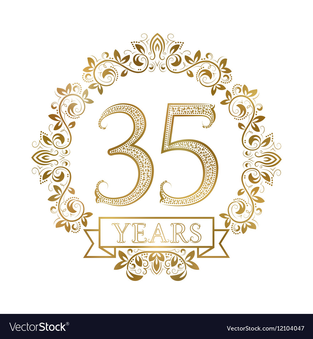 Golden Emblem Of Thirty Fifth Years Anniversary In