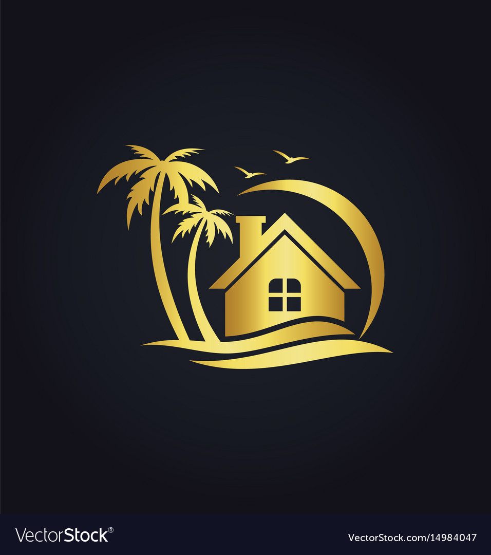 Hotel home resort beach gold logo vector image